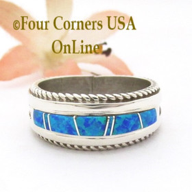 Size 10 Blue Fire Opal Inlay Band Ring Navajo Artisan Wilbert Muskett Jr WB-1811 Four Corners USA OnLine Native American Indian Silver Jewelry