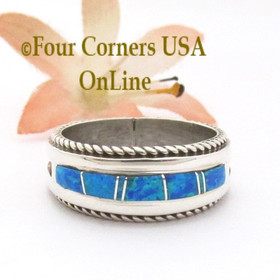 Size 10 1/2 Blue Fire Opal Inlay Band Ring Navajo Artisan Wilbert Muskett Jr WB-1813 Four Corners USA OnLine Native American Indian Silver Jewelry