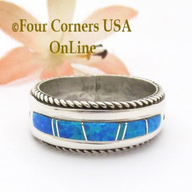 Size 12 Blue Fire Opal Inlay Band Ring Navajo Artisan Wilbert Muskett Jr WB-1819 Four Corners USA OnLine Native American Indian Silver Jewelry