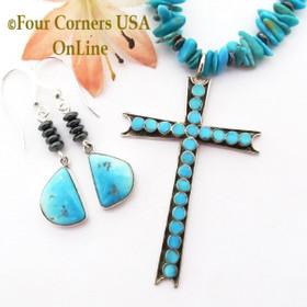 Turquoise Zuni Cross 18 Inch Kingman Turquoise Bead Necklace Navajo Earring Set Four Corners USA OnLine Native American Artisan Jewelry NAN-1445