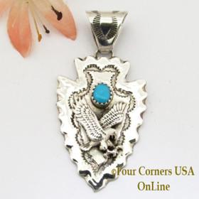 Arrowhead Eagle Turquoise Sterling Silver Pendant Navajo Alice Johnson NAP-1476 Four Corners USA OnLine Native American Jewelry
