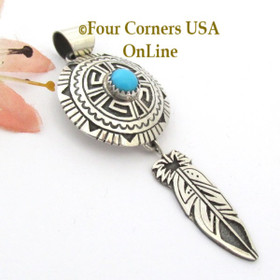 Turquoise Overlay Shield Feather Sterling Silver Pendant Navajo Gary Nez NAP-1681 Four Corners USA OnLine Native American Jewelry