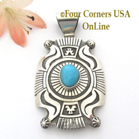 Large Shield Turquoise Sterling Silver Overlay Pendant Navajo Gary Nez NAP-1685 Four Corners USA OnLine Native American Jewelry