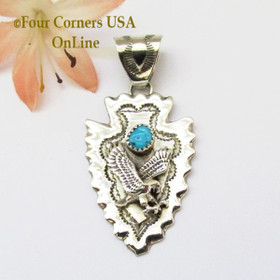 Arrowhead Eagle Turquoise Sterling Silver Pendant Navajo Alice Johnson NAP-1477 Four Corners USA OnLine Native American Jewelry
