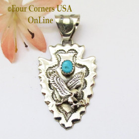 Arrowhead Eagle Turquoise Sterling Silver Pendant Navajo Alice Johnson NAP-1478 Four Corners USA OnLine Native American Jewelry