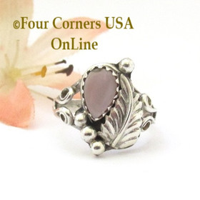Pink Mother of Pearl Shell Sterling Silver Leaf Ring Size 4 1/2 Four Corners USA Native American Navajo Jewelry NAR-0947545