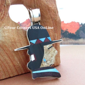 Native American Profile Inlay Pendant Navajo Artisan Calvin Desson NAP-1686 Four Corners USA Online Native American Jewelry