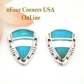 Contemporary Turquoise Inlay Post Earrings Navajo Artisan Albert Francisco NAER-1532 Four Corners USA OnLine Native American Silver Jewelry