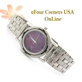 Men's Purple Turquoise Stainless Steel Bracelet Style Watch NAW-1461 Four Corners USA Online