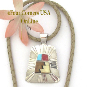 Tiger Eye Turquoise Coral Shell Inlay Pendant 17 Inch Adjustable Necklace Navajo Melvin Francis NAP-1660 Four Corners USA OnLine Native American Silver Jewelry