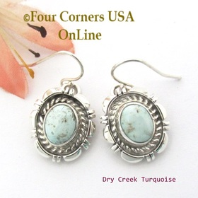 Dry Creek Turquoise Dangle Wire Earrings Navajo Norvin Johnson NAER-1535 Four Corners USA OnLine Native American Silver Jewelry