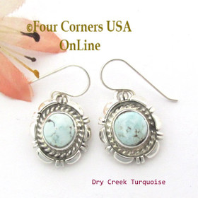 Dry Creek Turquoise Sterling Earrings Navajo Artisan Norvin Johnson NAER-1534 Four Corners USA OnLine Native American Silver Jewelry
