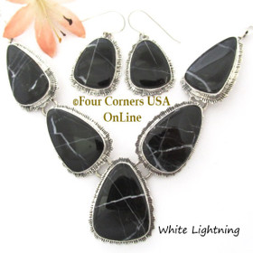 White Lightning Marble Necklace Earring Jewelry Set Navajo Lyle Piaso NAN-1448 Four Corners USA OnLine Native American Silver Jewelry