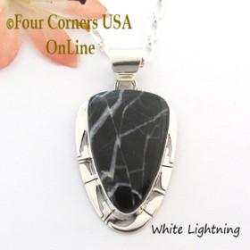 White Lightning Arrowhead Pendant 18 Inch Necklace Navajo Phillip Sanchez NAP-1702 Four Corners USA OnLine Native American Jewelry