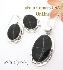 White Lightning Pendant Necklace Earring Set Navajo Phillip Sanchez NAER-1538 Four Corners USA OnLine Native American Jewelry