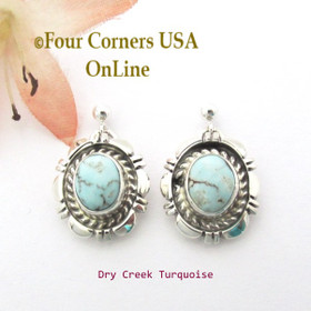 Dry Creek Turquoise Post Drop Earrings Navajo Norvin Johnson NAER-1536 Four Corners USA OnLine Native American Silver Jewelry
