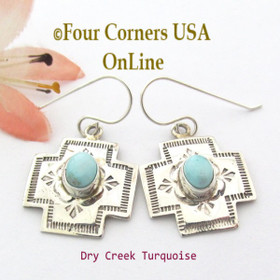 Dry Creek Turquoise Stamped Sterling Cross Navajo Earrings NAER-1533 Four Corners USA OnLine Native American Silver Jewelry