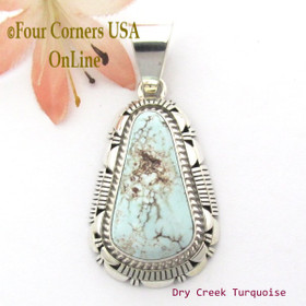 Dry Creek Turquoise Sterling Pendant Navajo Artisan Larry Moses Yazzie NAP-1699 Four Corners USA OnLine Native American Silver Jewelry