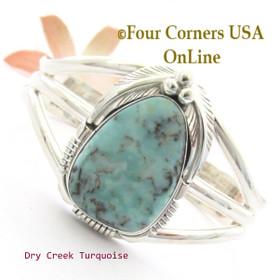 Dry Creek Turquoise Cuff Bracelet Navajo Silversmith Thomas Francisco NAC-1458 Four Corners USA OnLine Native American Jewelry