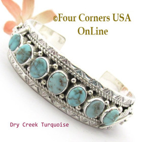 7 Stone Dry Creek Turquoise Cuff Bracelet Navajo Silversmith Thomas Francisco NAC-1460 Four Corners USA OnLine Native American Jewelry