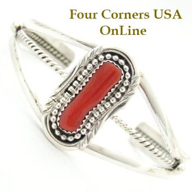 Freeform Branch Coral Native American Indian Navajo Cuff Bracelet Jewelry by Melissa Yazzie Four Corners USA OnLine Shopping NAC-09046