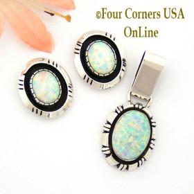 White Fire Opal Earrings Sterling Silver Pendant Set by Native American Navajo Harry Spencer Four Corners Jewelry NAN-09005
