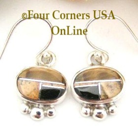 Tiger Eye Jasper Onyx Inlay Sterling Earrings Contemporary Native American Jewelry NAER-09024 Four Corners USA OnLine