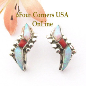 Fire Opal Natural Red Coral Inlay Half Hoop Sterling Silver Post Earrings Four Corners USA OnLine Native American Jewelry NAER-09032