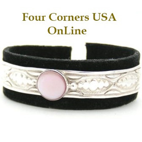 Pink Mother of Pearl Stamped Silver Cuff Bracelet Native American Jewelry by Raymond Yazzie Four Corners USA OnLine Navajo Silver Jewelry NAC-09425