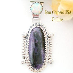Charoite Fire Opal Sterling Pendant by Navajo Artisan Running Bear Native American Indian Jewelry NAP-09277 Four Corners USA OnLine