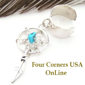 Dream Catcher Turquoise Sterling Silver Ear Cuff Four Corners USA Native American Indian Jewelry Lorenzo Arviso (NAER-09035)
