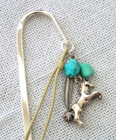 Western Horse Turquoise Feather Beaded Shepard Hook Style Bookmark