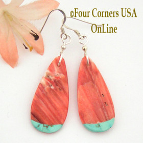 Teardrop Red Spiny Oyster Shell Turquoise Inlay Tip Earrings Four Corners USA OnLine Native American Jewelry NAER-09044