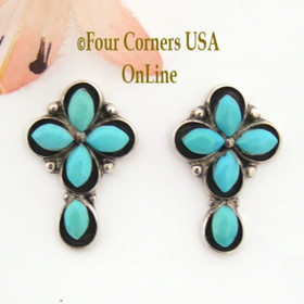 Turquoise Shadowbox Cross Post Pierced Earrings Four Corners USA OnLine Native American Indian Jewelry FCE-09035