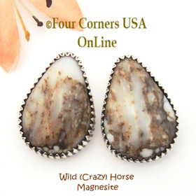 Crazy (Wild) Horse Post Pierced Earrings Native American Silver Jewelry by Running Bear NAER-09054 Four Corners USA OnLine