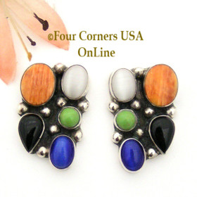 Multi Stone Multi Color Sterling Silver Post Style Earrings by Navajo Emma Lincoln NAER-09060 Four Corners USA OnLine Native American Jewelry