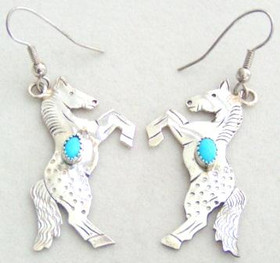 Rearing Horse Native American Navajo Wire Earrings with Turquoise by Louise F. Yazzie