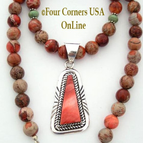 Spiny Oyster Sterling Pendant and Adjustable 18 to 22 Inch Southwestern Jasper Bead Necklace FCN-09086 Four Corners USA OnLine Native American Southwestern Jewelry