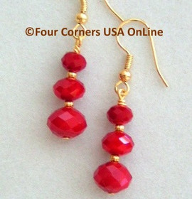 Red Velvet Crystal Gold over Surgical Steel Earrings Crafted FCE-09077 Four Corners USA OnLine Artisan Handcrafted Jewelry