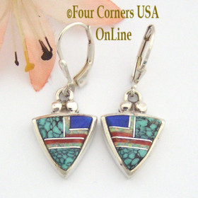 Spiderweb Turquoise Fine Inlay Earrings Coral Lapis Fire Opal Navajo Ervin Hoskie Silver Jewelry NAER-09135 Four Corners USA OnLine