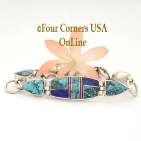 Spiderweb Turquoise Fine Inlay Adjustable Link Bracelet Navajo Artisan Shiela Tso Four Corners USA OnLine Native American Silver Jewelry NALB-10002