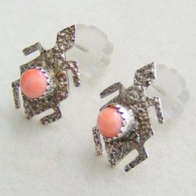 Pink Coral Turtle Sterling Silver Post Native American Navajo Earrings Jewelry by Jerry Cowboy (NAER-09139)