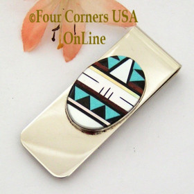 Multi Color Multi Stone Inlay Money Clip Native American Zuni Jewelry NAM-09111 Four Corners USA OnLine