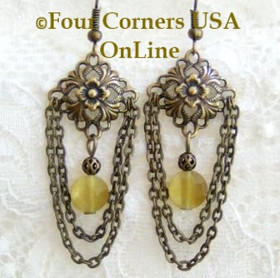 Antiqued Gold Plated Steel HypoAllergenic Chandelier Fashion Earrings FCE-09088 Four Corners USA OnLine Artisan Handcrafted Jewelry