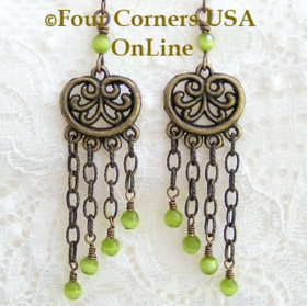 Antiqued Brass Chandelier Handcrafted HypoAllergenic Fashion Earrings FCE-09087 Four Corners USA OnLine Artisan Handcrafted Jewelry
