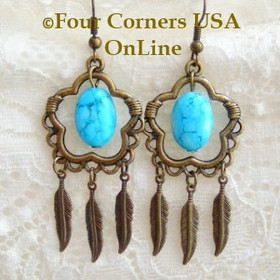 Antiqued Brass Turquoise and Feathers Chandelier Fashion Earrings FCE-09089 Four Corners USA OnLine Artisan Handcrafted Jewelry
