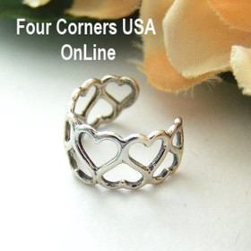Heart in Heart Design Sterling Silver Ear Cuff Relios Carolyn Pollack Made in the USA Four Corners OnLine Jewelry