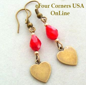 Red Velvet and Brass Hearts Fashion Earrings with Hypo Allergenic Wire FCE-11003 Four Corners USA OnLine Artisan Handcrafted Jewelry