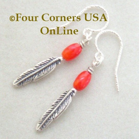 Natural Red Mediterranean Coral Sterling Silver Feather Drop Earrings FCE-11014 Four Corners USA OnLine Artisan Handcrafted Jewelry