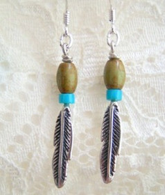 Coppery Green Turquoise Sterling Silver Feather Beaded Drop Earrings by Four Corners USA (FCE-11013)